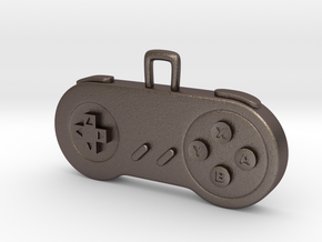 Retro Game Console Controller Pendant. in Polished Bronzed Silver Steel