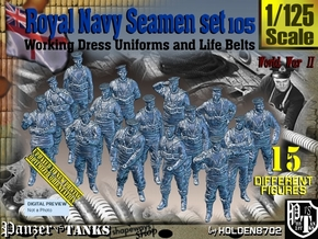 1/125 Royal Navy Seamen Set105 in Smooth Fine Detail Plastic