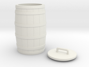 Wooden Barrel and Lid with Handle, 1:8 scale in White Natural Versatile Plastic