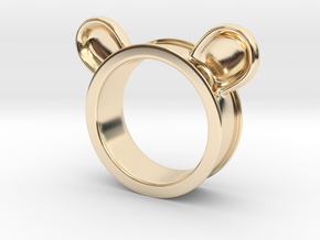 Bear ears ring size6 in 14k Gold Plated Brass