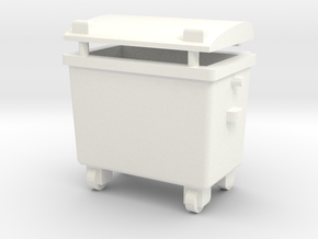 OO Gauge 660 Ltr Wheelie Bin in White Processed Versatile Plastic