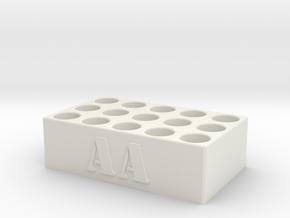 AA Battery Holder in White Natural Versatile Plastic