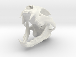 Bobcat Skull - Open Jaw Statue in White Natural Versatile Plastic