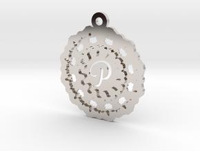 Magic Letter P Pendant in Rhodium Plated Brass