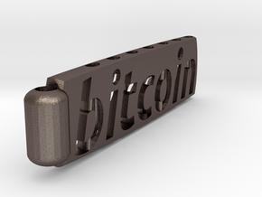 Bitcoin Keychain Lite in Polished Bronzed Silver Steel