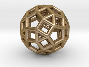 """Rhombicosidodecahedron Steel 1"""" in Polished Gold Steel"""