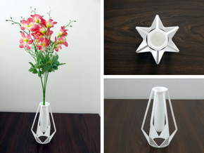 Star Vase in White Processed Versatile Plastic