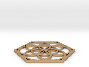 Flower of Life in a Hexagon in Natural Bronze