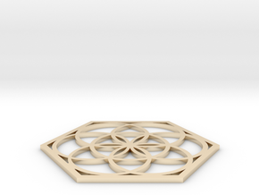 Flower of Life in a Hexagon in 14k Gold Plated Brass