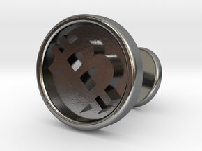 Bitcoin cufflink in Polished Silver