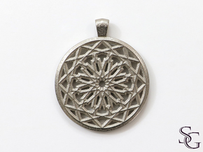 Round mashrabiya pendant in Polished Nickel Steel