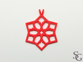 6 pointed star pendant in Red Processed Versatile Plastic