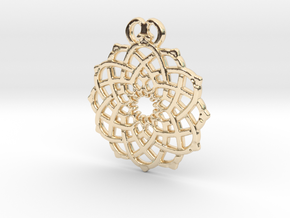 Crown Flower Pendant in 14k Gold Plated Brass