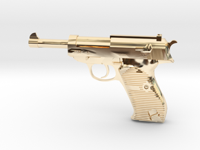 1/3 Scale Walthers P38 Pistol  in 14K Yellow Gold