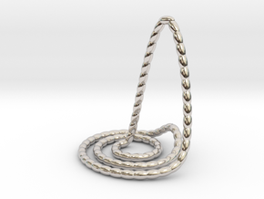 Wave beads pendant necklace in Rhodium Plated Brass