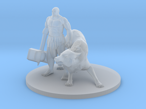 Mountain Hammer Fist Barbarian and Wolf Companion. in Smooth Fine Detail Plastic