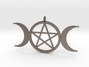 pentacle moon pendant in Polished Bronzed-Silver Steel