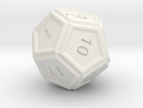 12 Sided Dice in White Natural Versatile Plastic