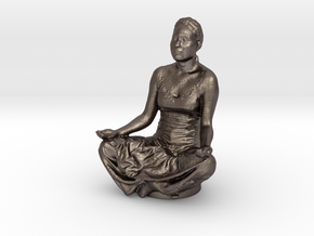 Lotus Pose in Polished Bronzed-Silver Steel