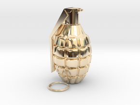 1/3rd Scale Pineapple Hand Grenade in 14K Yellow Gold