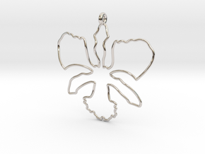 Wild Orchid Pendant in Rhodium Plated Brass