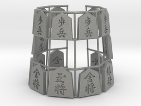 Shogi Bracelet (Japanese Chess Bracelet) in Gray PA12