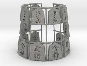 Shogi Bracelet (Japanese Chess Bracelet) in Gray PA12