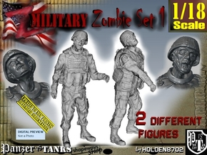 1-18 Military Zombie Set 1 in White Natural Versatile Plastic