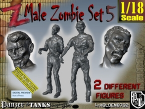 1-18 Male Zombie Set5 in White Natural Versatile Plastic