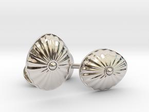 Shell Cufflinks in Rhodium Plated Brass