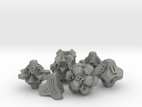 Brutalist Dice Set — Version 2 (7 pc.) in Gray Professional Plastic