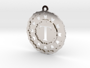 Magic Letter T Pendant in Rhodium Plated Brass