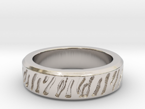 Tiger stripe ring multiple sizes in Platinum: 5 / 49