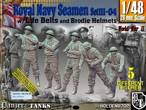 1/48 Royal Navy Seamen Set111-04 in Smooth Fine Detail Plastic
