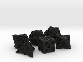 Celtic Dice Set - Solid Centre for Plastic in Black Premium Versatile Plastic