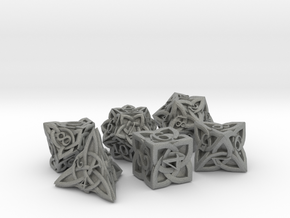 Celtic Dice Set - Solid Centre for Plastic in Gray PA12
