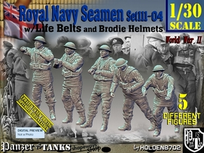 1/30 Royal Navy Seamen Set111-04 in White Natural Versatile Plastic