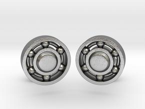 Ball Bearing Cufflinks in Natural Silver