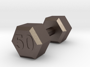 dumbbell 50 weight in Polished Bronzed-Silver Steel