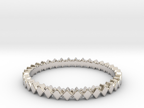 Rhombus Double Layer Band Ring in Rhodium Plated Brass: 4 / 46.5
