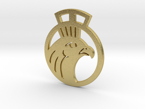 Medium Sized Pendant Featuring Horus in Natural Brass
