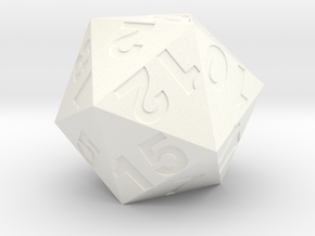 d20 (28mm) in White Processed Versatile Plastic
