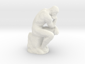 The Thinker voxelized in White Processed Versatile Plastic
