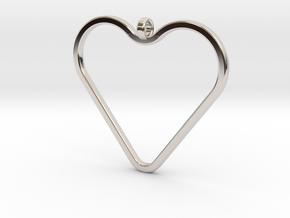 Heart_necklace 1 v1 in Rhodium Plated Brass: Medium