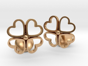 Floral Heart Cufflinks in Polished Bronze