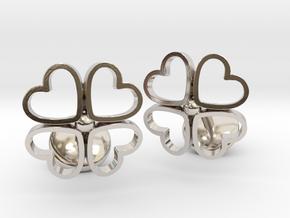 Floral Heart Cufflinks in Rhodium Plated Brass