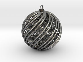 Christmas Ornament A in Polished Silver