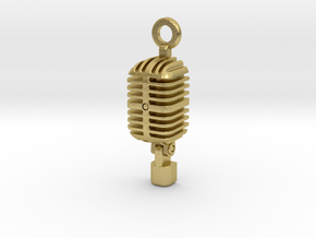 Classic Microphone Pendant in Natural Brass