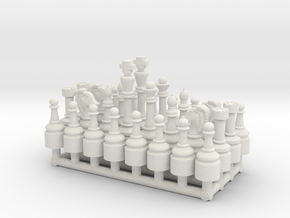 1/18 Scale Chess Pieces Sprue (Full Set) in White Natural Versatile Plastic
