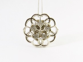 Contemporary Flower Pendant in Polished Silver